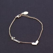 Women Girl 18K Rose Gold GF Cute Love Heart Pendant Charm Bracelet Stunning Gift