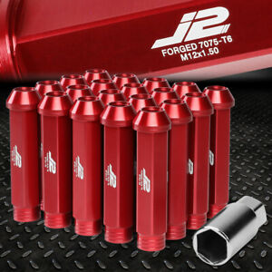 J2 ENGINEERING 7075 ALUMINUM M12X1.5 20PCS 90MM OPEN-END LUG NUT W/ADAPTER RED