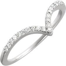 14K White Gold Genuine 21qty Round Diamond V Chevron Promise or Right Hand Ring