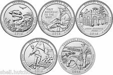 2016 US National Park Quarters Five Coins Uncirculated Straight from the US Mint