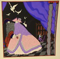 1930s French Pochoir Print Edouard Halouze Art Deco Princess Prince Love XL