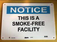 OSHA NOTICE SMOKE FREE FACILITY SIGN NEW .50 Rigid Plastic Made In USA