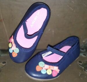 Carter's Blue Pink Orange Heart Buttons Bow Dress Shoes Size 5 Infant Toddler *