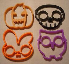 Lot of 4 Silicone Egg Pancake Art Rings Molds Jack-O-Lantern Skull Rabbit Owl