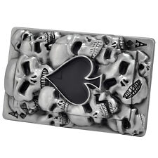 Ace of Spades inlaid on 3d Skulls playing Card Belt Buckle to fix 2 own belt New