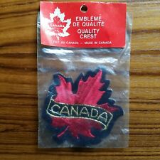NIP Red Gold Maple Leaf Canada Canadian Souvenir Embroidered Badge Patch Crest
