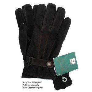 Exclusive Gloves Men Genuine Leather Black Size M - New - Black Leather Original
