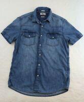 Vtg Tommy Hilfiger Denim Shirt Mens Medium Pearl Snap Short Sleeve Light Weight