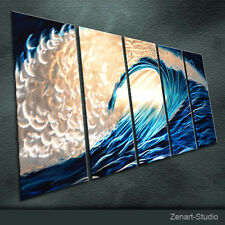 Abstract Metal Wall Art Modern Original Blue-Silver Indoor Outdoor Decor-Zenart