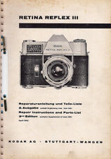 Kodak Reparaturanleitung für Retina Reflex III - Original Ausgabe