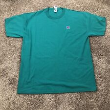 Russel Athletic Vintage Blank Embroidered Logo T Shirt Size XXL Made in USA Teal