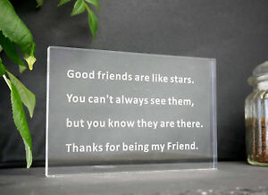 Novelty Engraved Good Friends Gift Sentimental Desk Plaque Acrylic Paperweight