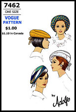 HAT CAP BERET Fabric Sewing Pattern VOGUE 7462 Vintage Millinery Designer ADOLFO
