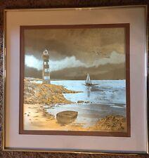 Vintage J Hardelin Gold Foil Etched Framed Art Nautical Lighthouse Ocean Beach