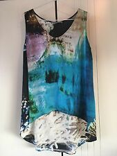 Womens Scanlan & Theodore Silk Under The Sea Print High Low Style Top Size 10