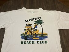 Vintage Alcatraz Beach Club Comedy Cat Prisoner Sipping Drink XL White T Shirt