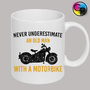 MOTORBIKE DON'T UNDERESTIMATE FUNNY MUG HUMOUR JOKE PRESENT NOVELTY GIFT CUP MUG