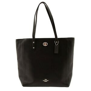 NWT COACH Town Tote Classic Leather Shoulder Bag Luxury Black Gold F12184