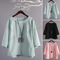 Women Long Sleeve Casual Plain Shirt Tops Round Neck Loose Blouse Shirt Tops US