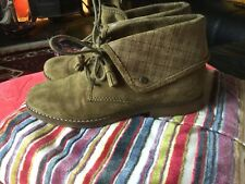 Ladies Hush Puppies Green Suede Leather Wide Fit Boots Size 7