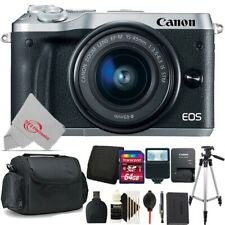 Canon EOS M6 Mirrorless Digital Camera Silver with 15-45mm 64GB Accessory Kit