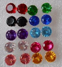 Crystals Round Large Studs Earrings in 10 Different Colours Stoppers Pale Pink