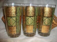 3 Vintage Green & Gold Royal High Ball Drinking Glasses Crown Bamboo Holders