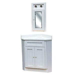 24X24 White Shaker Corner Vanity Cabinet W/Top & Medicine Cabinet