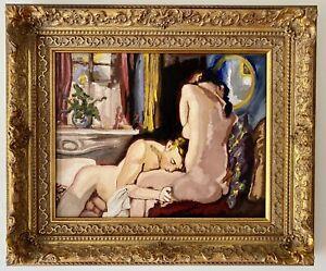 Vintage Russian Erotic Painting after Konstantin Somov Gay Nude Art Deco Oil