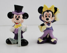 "1987 Vintage 4"" Mickey and Minnie Mouse Ceramic Figures Disney Store Lilac"