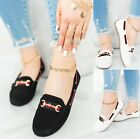 LADIES WOMENS FLAT COMFY WORK OFFICE PUMPS LOAFERS SOFT SLIP ON SHOES SIZE 3-8