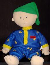 "HTF Large 30"" Caillou Plush Pillow Time Pals Doll Cinar Blue Fleece Pajamas VGC"
