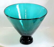"""CORREIA EMERALD Green LARGE TRUMPET VASE Art Glass 9"""" tall  Signed DATED 1999"""