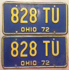 "OHIO 1972  PASSENGER LICENSE PLATE  PLATES MATCHING PAIR "" 828 TU ""  OH 72"