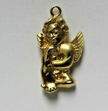 Adorable Solid 14k Yellow Gold Cherub Angel Pendant / Charm 2.2g