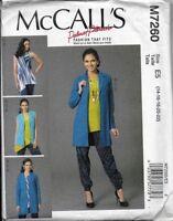 McCall's Sewing Pattern M7260  VEST, JACKET, TOP & PANTS 14-22 Palmer Pletsch