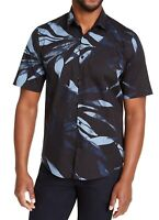 Alfani Mens Shirt Black Blue Small S Leaf Print S/S Stretch Button Down $55 051