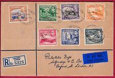 R* CYPRUS 3 USED FDCs 1938 GEORGE VI REGISTERED TO LONDON Mi nr. 136-154 #7381