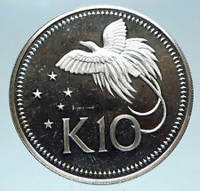 1980 PAPUA NEW GUINEA Large 4.5CM Exotic Bird Proof Silver 10 Kina Coin i83083