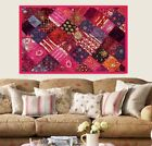 """60"""" PINK ANTIQUE SARI BEADED SEQUIN EMBROIDERY DECOR THROW WALL HANGING TAPESTRY"""