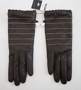 $195 New MOSCHINO Dark Brown Genuine LEATHER CASHMERE Lined Gloves 7 7.5