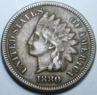 1880 DDO Double Die Obverse XF US Indian Head Penny 1 Cent Mint Error U.S. Coin