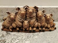 Vintage Ceramic Six Pigs in a Poke Nowell's Inc. 1993 Farmhouse Country Decor