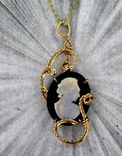 VINTAGE ANTIQUE OPAL  CAMEO PENDANT, NECKLACE CARVED  ITALY 14KT ROLLED GOLD