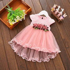 Toddler Baby Girls Summer Floral Tutu Dress Princess Party Wedding Tulle Dresses Pink 0-6 Months