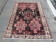 Vintage Hand Made Traditional Oriental Wool Burgundy Pink Large Rug 196x142cm