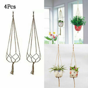 4pcs Macrame Garden Plant Hanger Flower Pot Holder Hanging Jute Rope Wall Decor