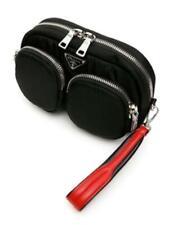 Prada 1NE025 Men's Black Nylon Clutch Bag - Black and Red Leather Strap