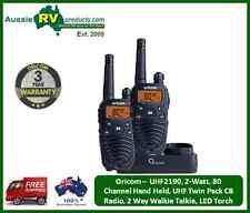 Oricom - UHF2190, 2-Watt, 80 Channel Hand Held, UHF Twin Pack CB Radio 2 Way Wal