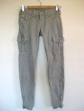 True Religion Size 25 ( AUS 6 - 8)  Designer Light Grey Zipper Detail Jeans